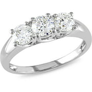 miabella 1 carat tw diamond three stone engagement ring in 14kt white gold igl - Wedding Rings At Walmart