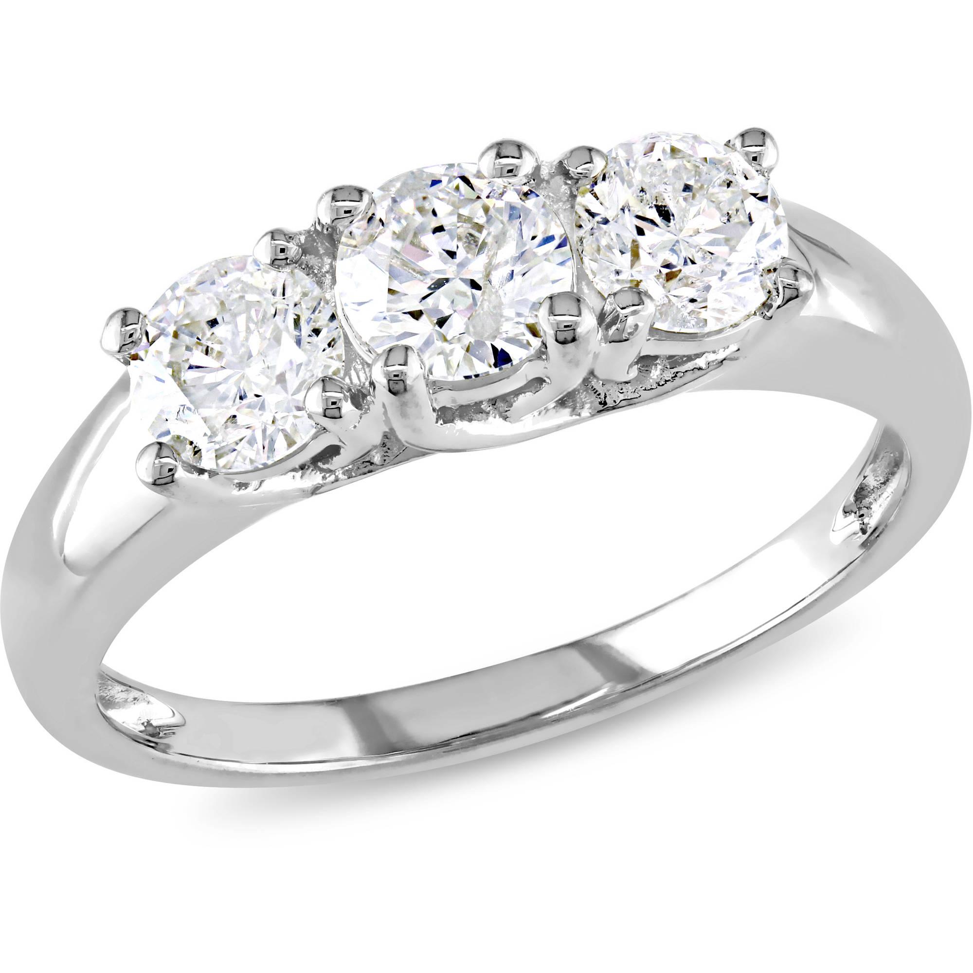 Miabella 1 Carat T.W. Diamond Three-Stone Engagement Ring in 14kt White Gold, IGL Certified