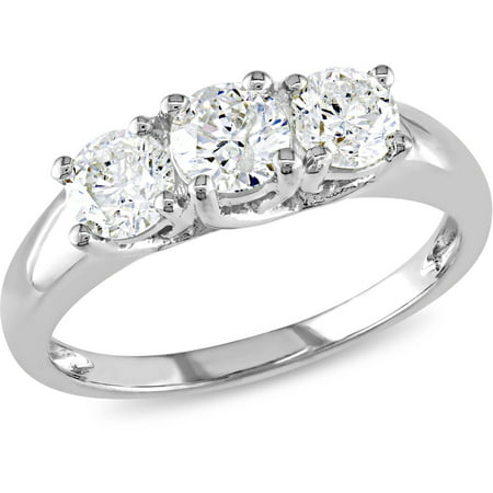 Miabella 1 Carat TW Diamond Three Stone Engagement Ring In 14kt White Gold IGL