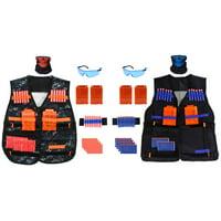 Kids 2-Pack Tactical Vest Kit for Nerf N-Strike w Reload Clips, Soft Foam Darts, Safety Glasses, Masks, and Wrist Bands (92 Pieces Total)