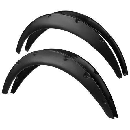 Spec-D Tuning Universal 4X Flexible Car Fender Flares Black Durable Extra Wide Body Kit - Car Fender Flares