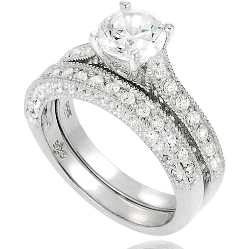Alexandria Collection Round-Cut CZ Sterling Silver Bridal Set