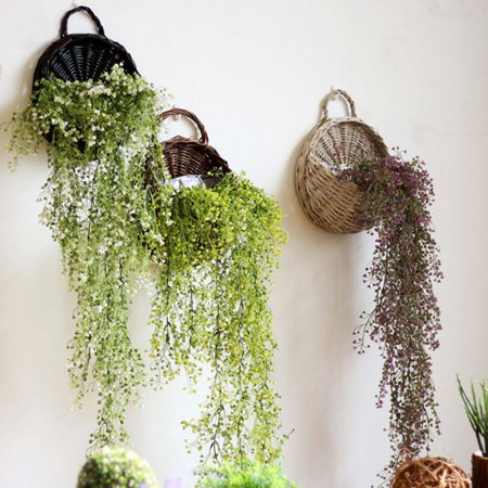 Spanish Wall Basket (Moaere Hand Made Decorative Wicker Hanging Flower Basket Rattan Plant Vine Wall Basket for Home Wedding Party )
