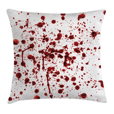 Horror Throw Pillow Cushion Cover, Splashes of Blood Grunge Style Bloodstain Horror Scary Zombie Halloween Themed Print, Decorative Square Accent Pillow Case, 18 X 18 Inches, Red White, by Ambesonne](Halloween Main Theme Mp3)