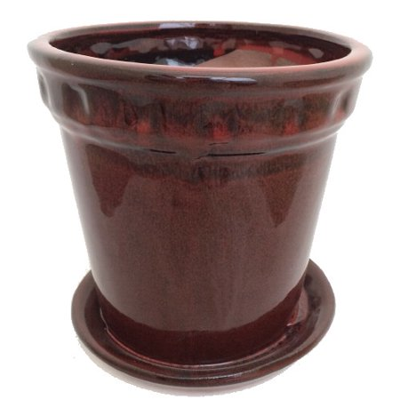Decorative Cylinder Glazed Ceramic Pot and Saucer - Tropical Red - 6 7/8