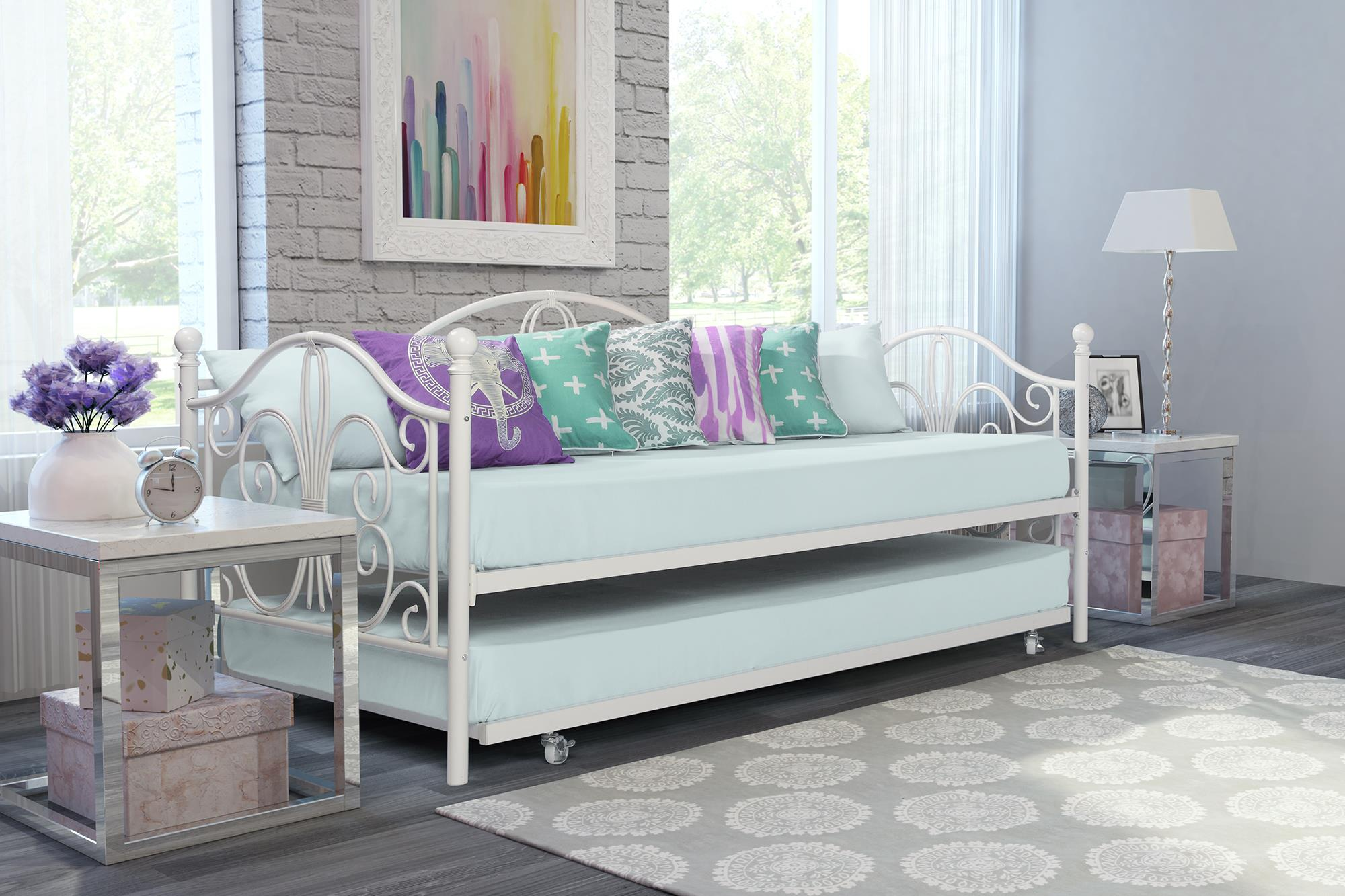 Dorel Home Bombay Metal Day Bed and Trundle, Off White by Dorel Home Products