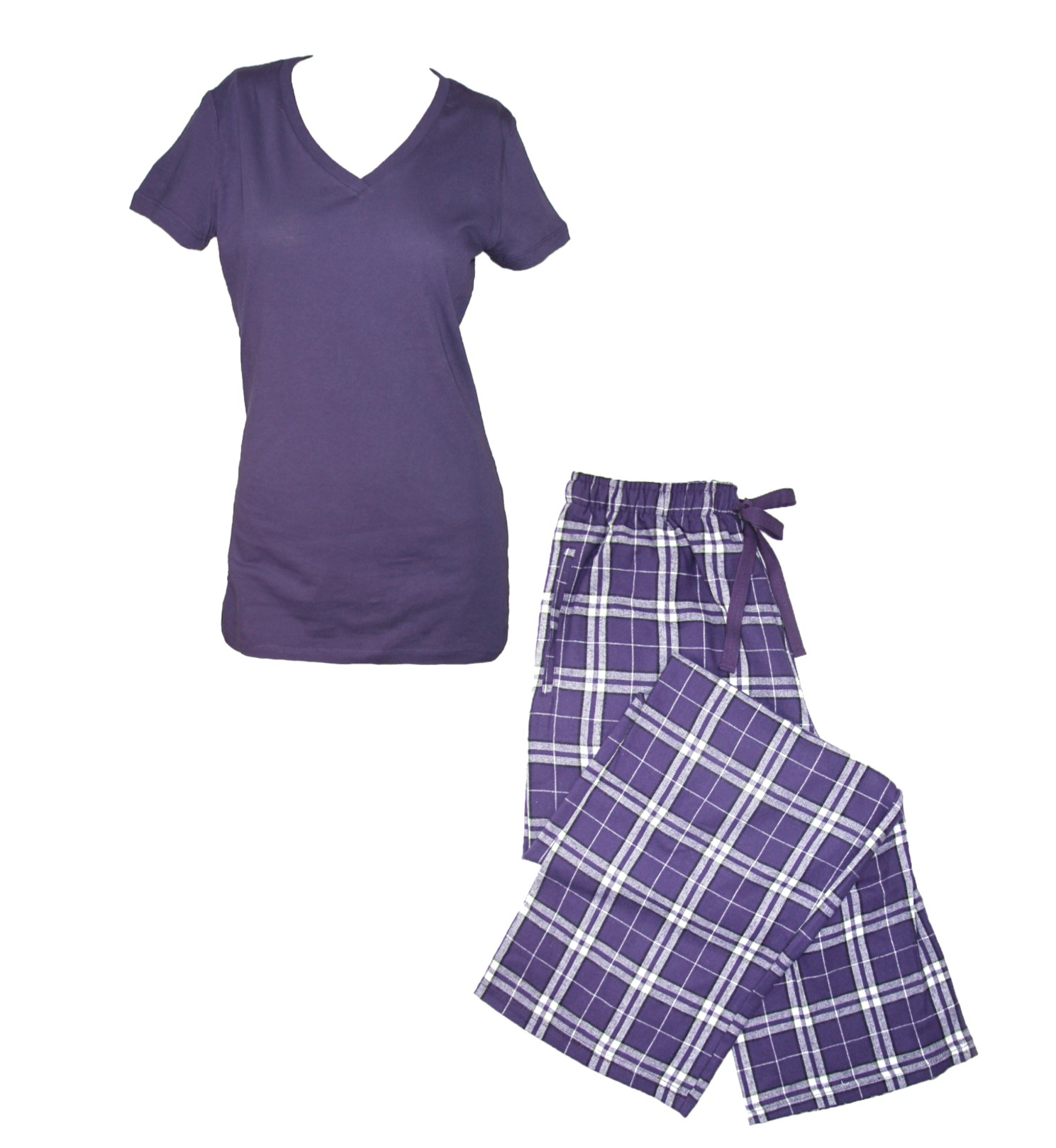 Boxercraft Size Large Womens Flannel Pants with Pockets and Short Sleeve Tee Set, Purple