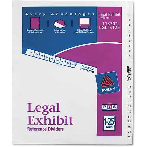Avery Avery-Style Legal Side Tab Divider, Title: 1-25, Letter, White, 1 Set