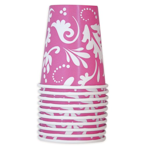 Pink Paisley Flowers 9oz Paper Cups (10ct)