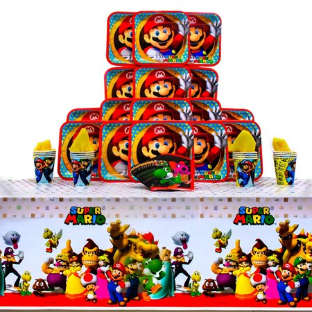 Muppets Party Supplies (Super Mario Brothers Party Pack Seats 16 - Napkins, Plates, Cups and Tablecloth - Super Mario Brothers Party Supplies, Deluxe Party)