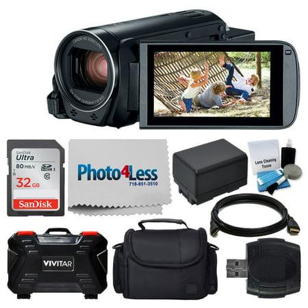 Canon VIXIA HF R800 Camcorder (Black) + 32GB Memory Card + Medium Digital Camera/Video Case + Extra Battery BP-727 + USB Card Reader + Vivitar Card Hard Case + Cleaning Kit – Value Accessory Bundle Accessory Kit Value Bundle