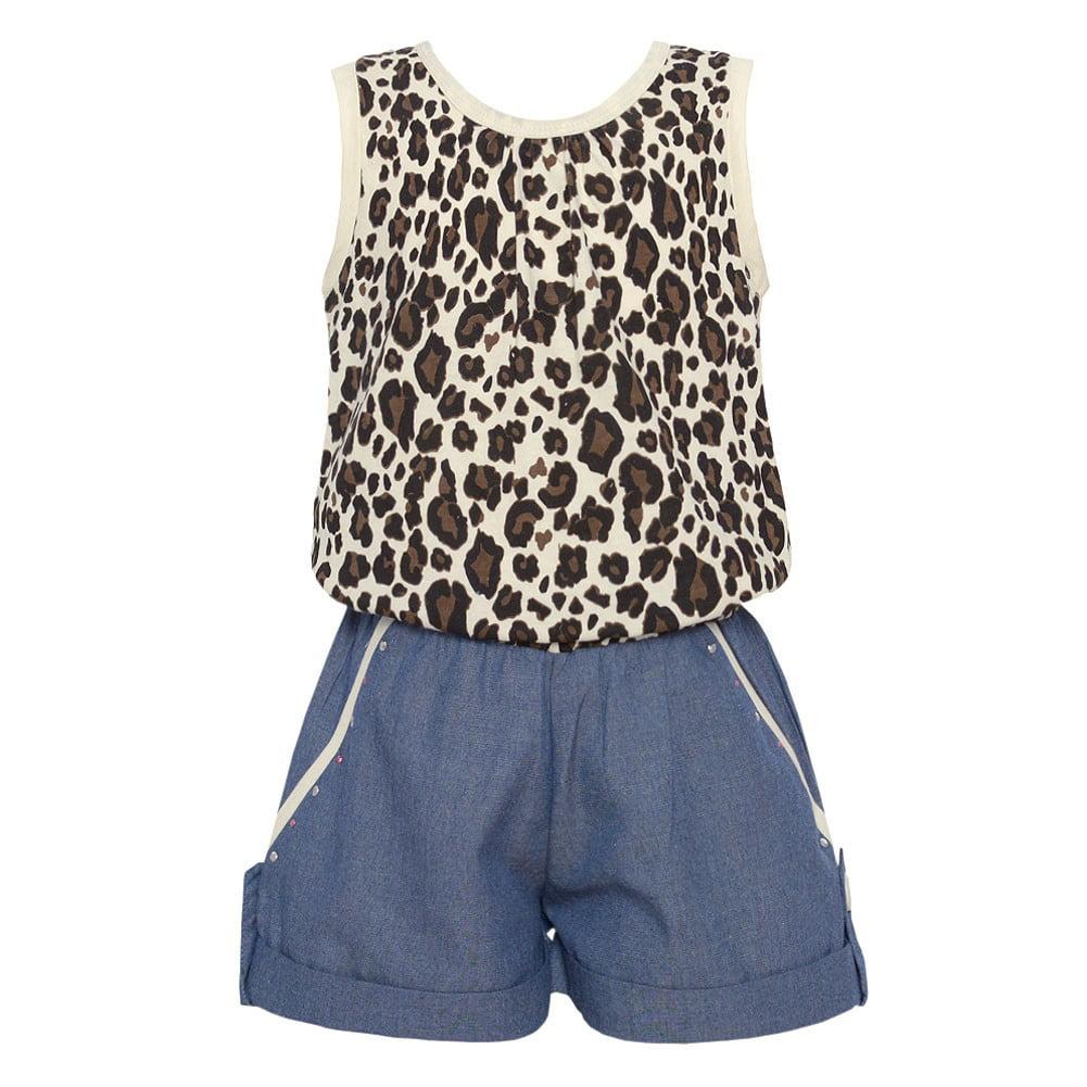Little Girls Ivory Brown Leopard Spotted Top Denim Cuffed Shorts Jumper 4