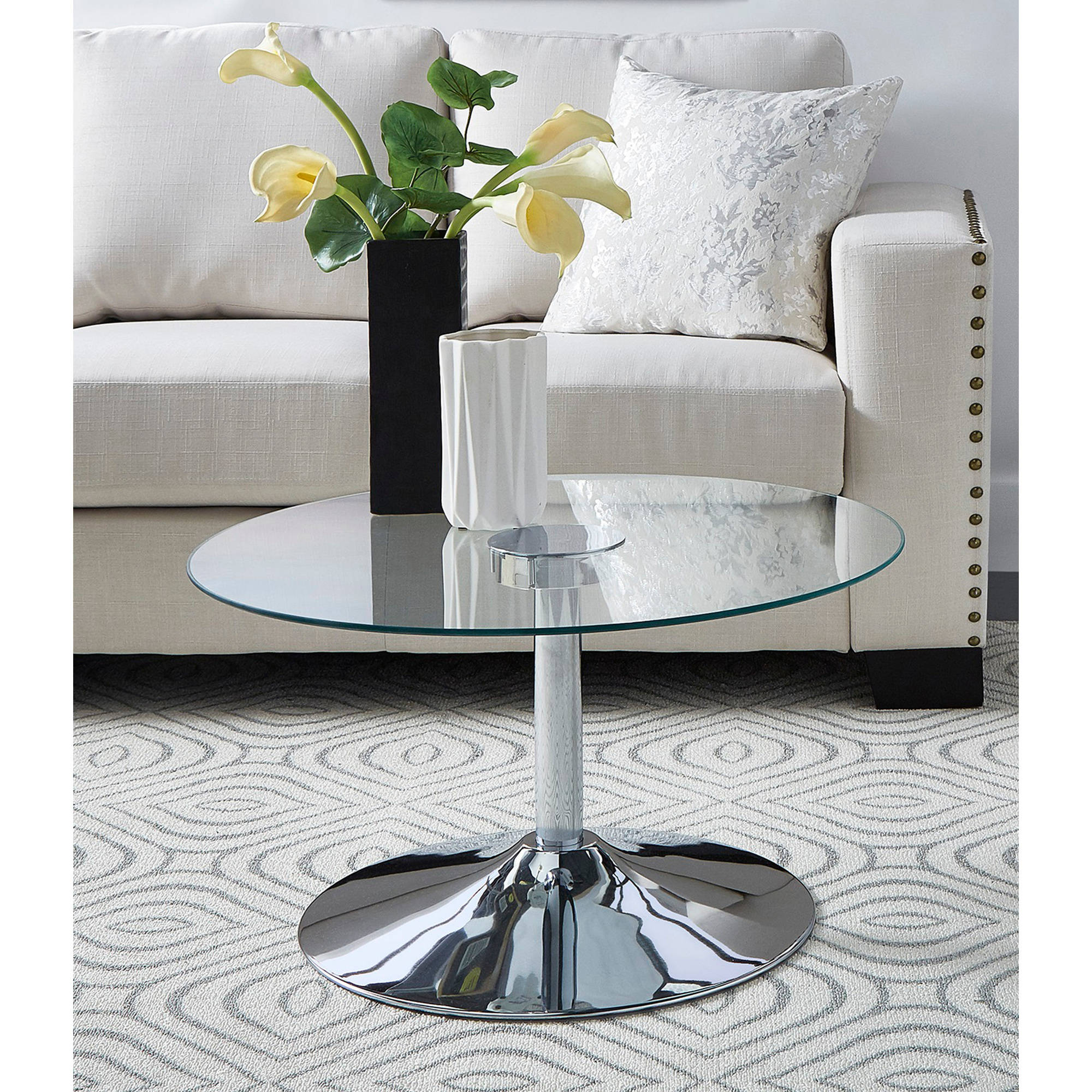 Chelsea Lane Ivo LED Cocktail Table, Metal and Chrome by Weston Home