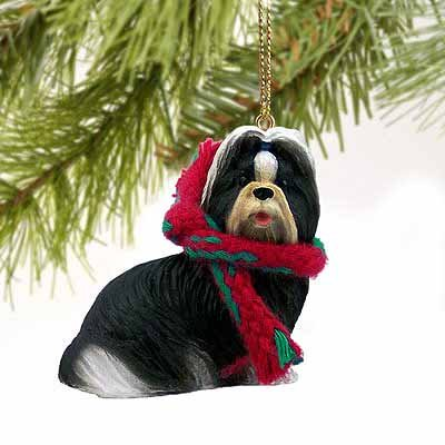 Shih Tzu Miniature Dog Ornament - Black & White by Conversation - Black Shih Tzu