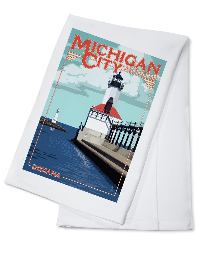 Indiana Michigan City Lighthouse Lantern Press Artwork (100% Cotton Kitchen Towel) by Lantern Press