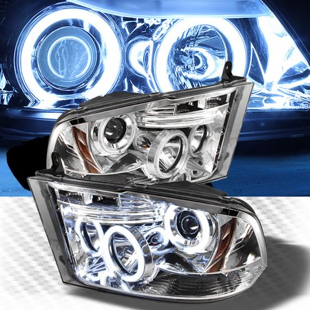 Dual CCFL Halo LED 2009-2017 Dodge Ram Projector Headlights Head Lights  Lamp Pair Left+Right 2010 2011 2012 2013 2014