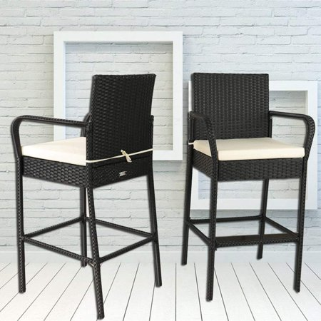Outdoor Patio Rattan Bar Stool Set Pool Furniture Black Wicker High Chair With Beige Cushions Of 2