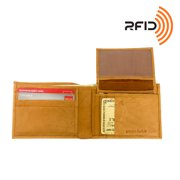 Leather RFID Passcase Bifold Wallet w/ Removable Card Case