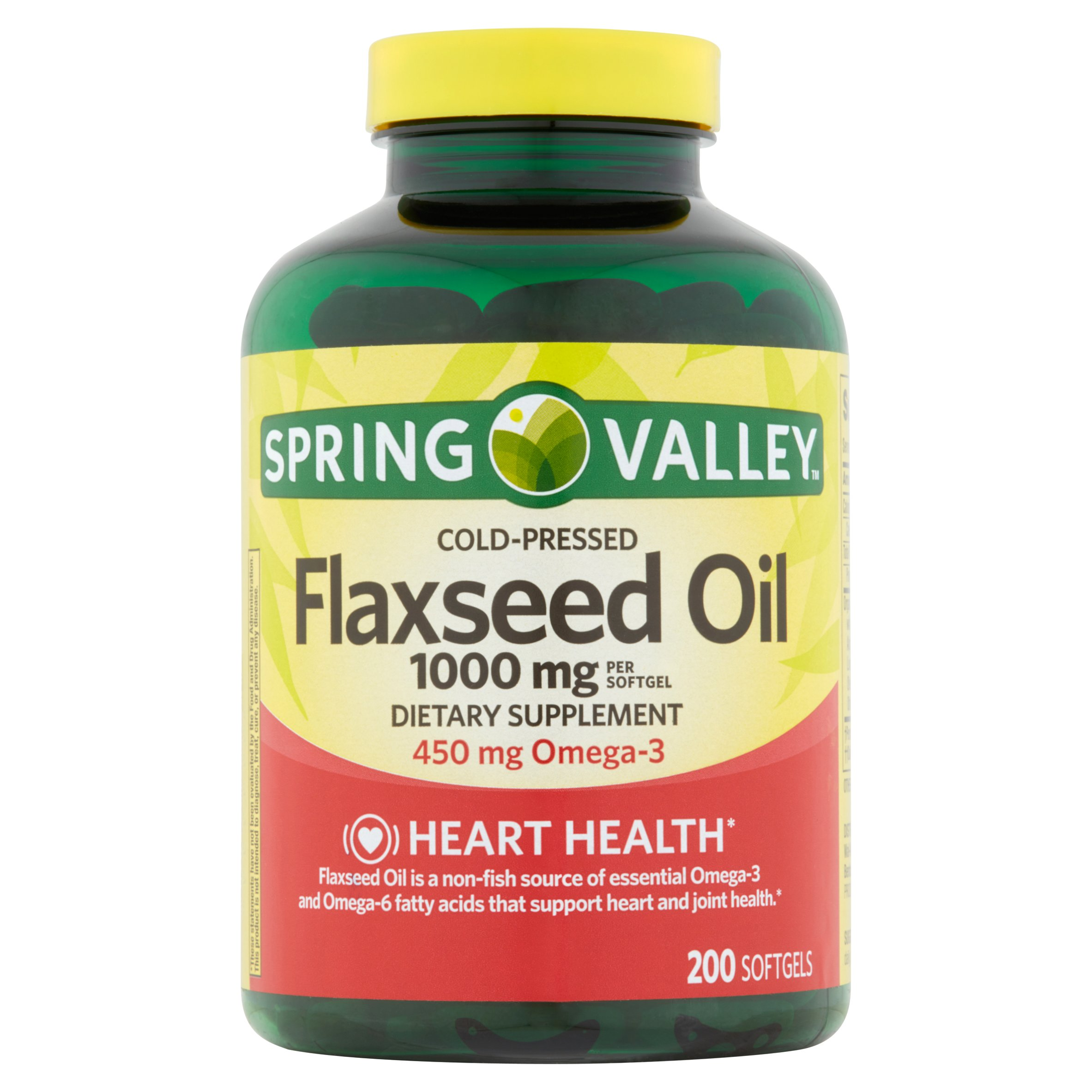 Spring Valley Cold-Pressed Flaxseed Oil Softgels, 1000mg, 200 Ct