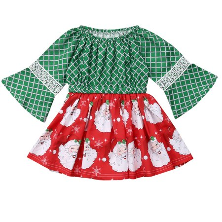 Infant Toddler Christmas Dresses (Infant Baby Girls Long Horn Sleeve Santa Claus Christmas Dress Outfits 6-12 Months)
