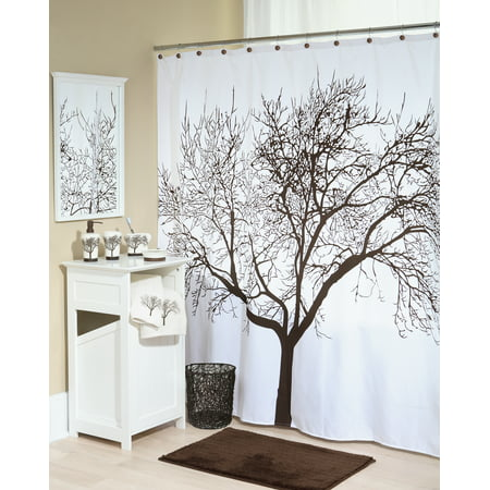 Splash Home Tree Polyester Fabric Shower Curtain 70 X 72 Brown
