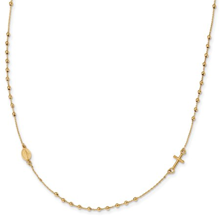 16in Cross - 14K Yellow Gold Polished 16in Cross Rosary Necklace 16 Inch