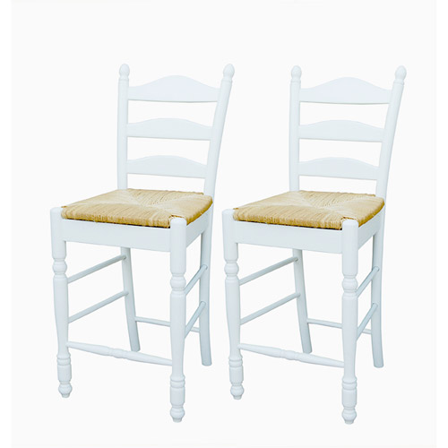 """Ladder Back Rush Seat Counter Stools 24"""", Set of 2, Multiple Colors"""