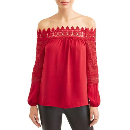 Women's Smocked Off the Shoulder Crochet Top