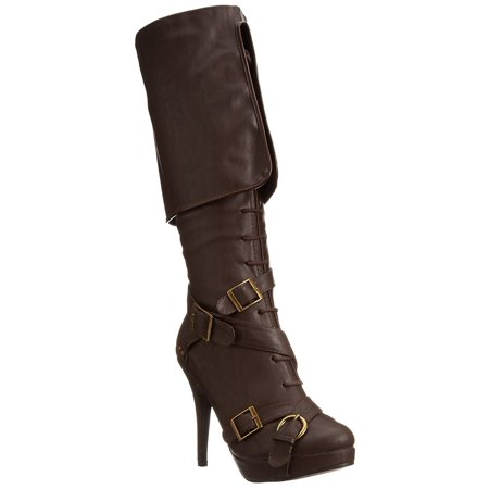 ELLIE 414-KEIRA Women's Buckle Criss Cross Strap Lace Pirate Knee High Boot (Ellie Boots)