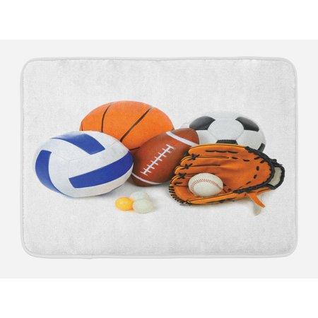 Sports Bath Mat, Many Different Sports Balls All Together Championship Ping Pong Volleyball Olympics, Non-Slip Plush Mat Bathroom Kitchen Laundry Room Decor, 29.5 X 17.5 Inches, Multicolor, Ambesonne