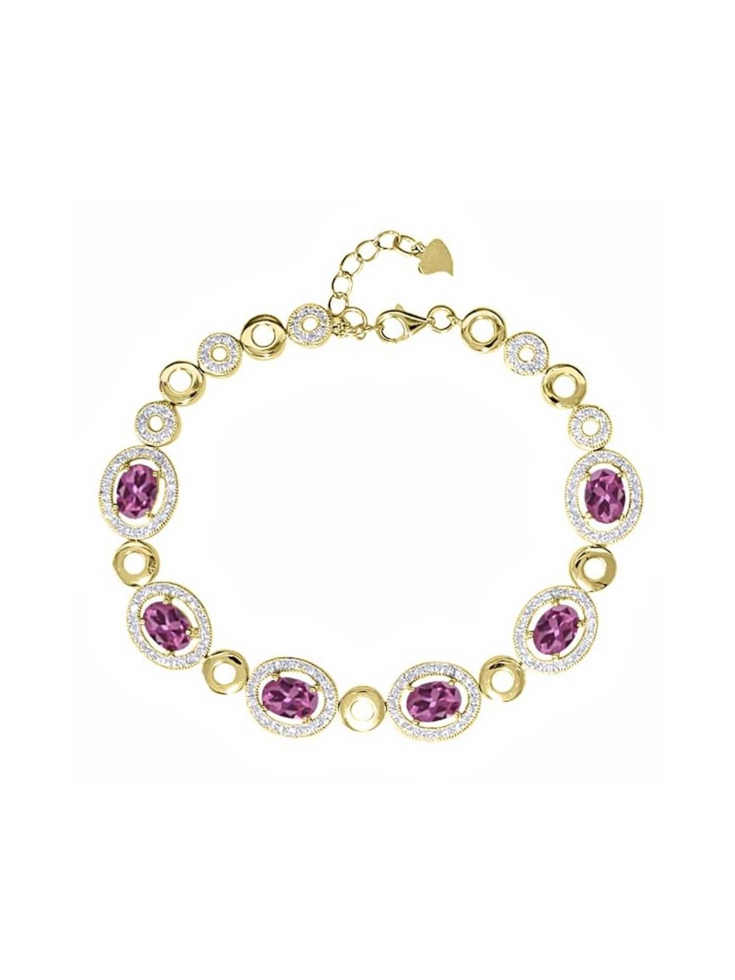 7.02 Ct Oval Pink Tourmaline 18K Yellow Gold Plated Silver Bracelet by