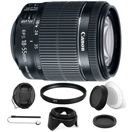 Canon EF-S 18-55mm f/3.5-5.6 IS STM Zoom Lens with Accessory Bundle for Canon Digital SLR Cameras