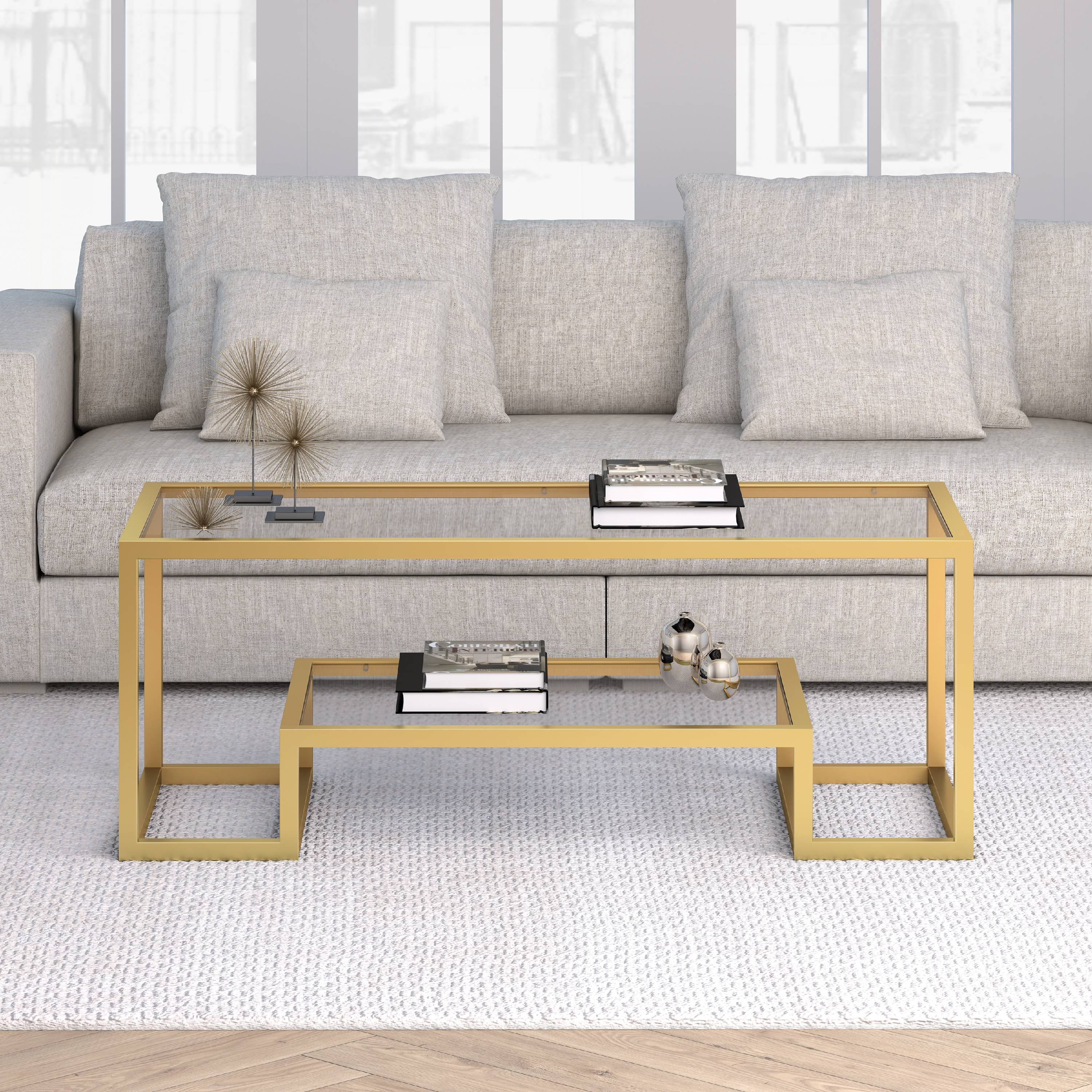 Athena Geometric Glam Coffee Table in Gold