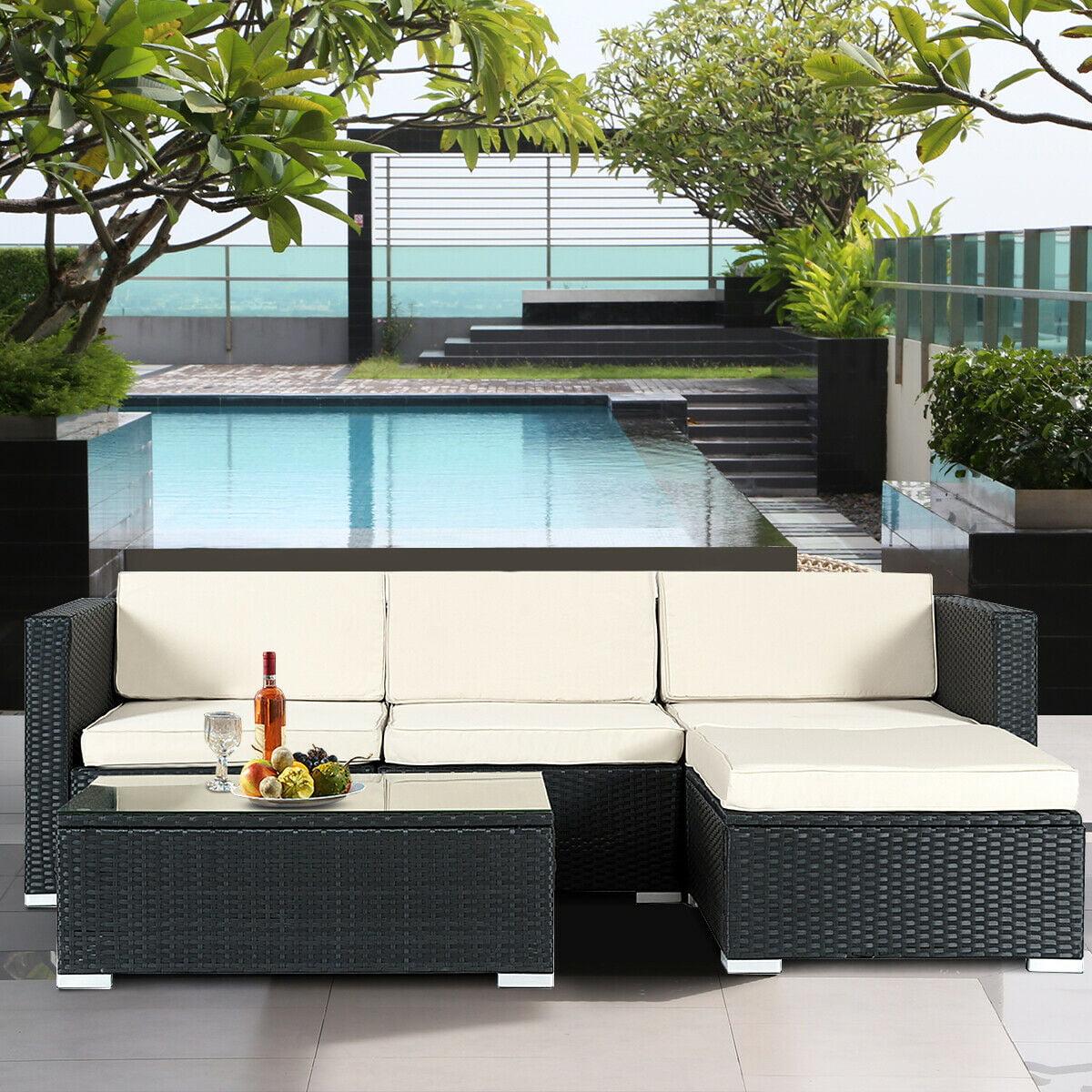 Gymax Rattan Wicker Table Shelf Garden Sofa 5 PCS Patio Furniture Set W/ Cushion Black