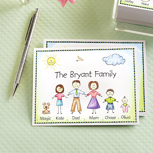 Personalized Friendly Family Characters Note Cards and Envelopes