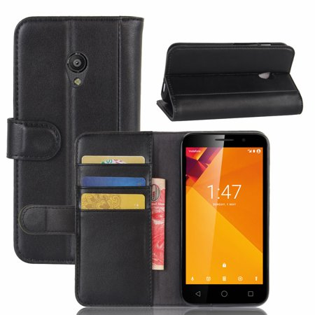 For Vodafone Smart Turbo 7 Genuine Leather Wallet Case With Flip Stand Function And Card Slots Magnetic Closure Cover  Black