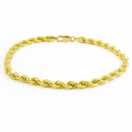 14k Yellow Gold 5mm Diamond Cut Solid Rope Chain Bracelet, 8