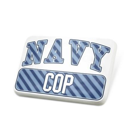 Porcelein Pin NAVY Cop, Blue stripes Lapel Badge – NEONBLOND](Cop Badge)