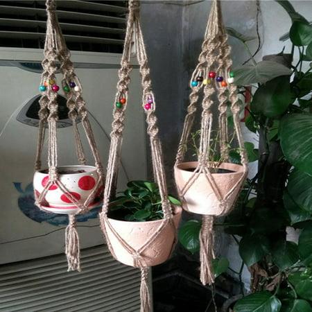 Girl12Queen 4 Legs Macrame Natural Plant Hanger Planter Basket Holder for Garden Balcony (Macrame Plant Hanger Instructions)