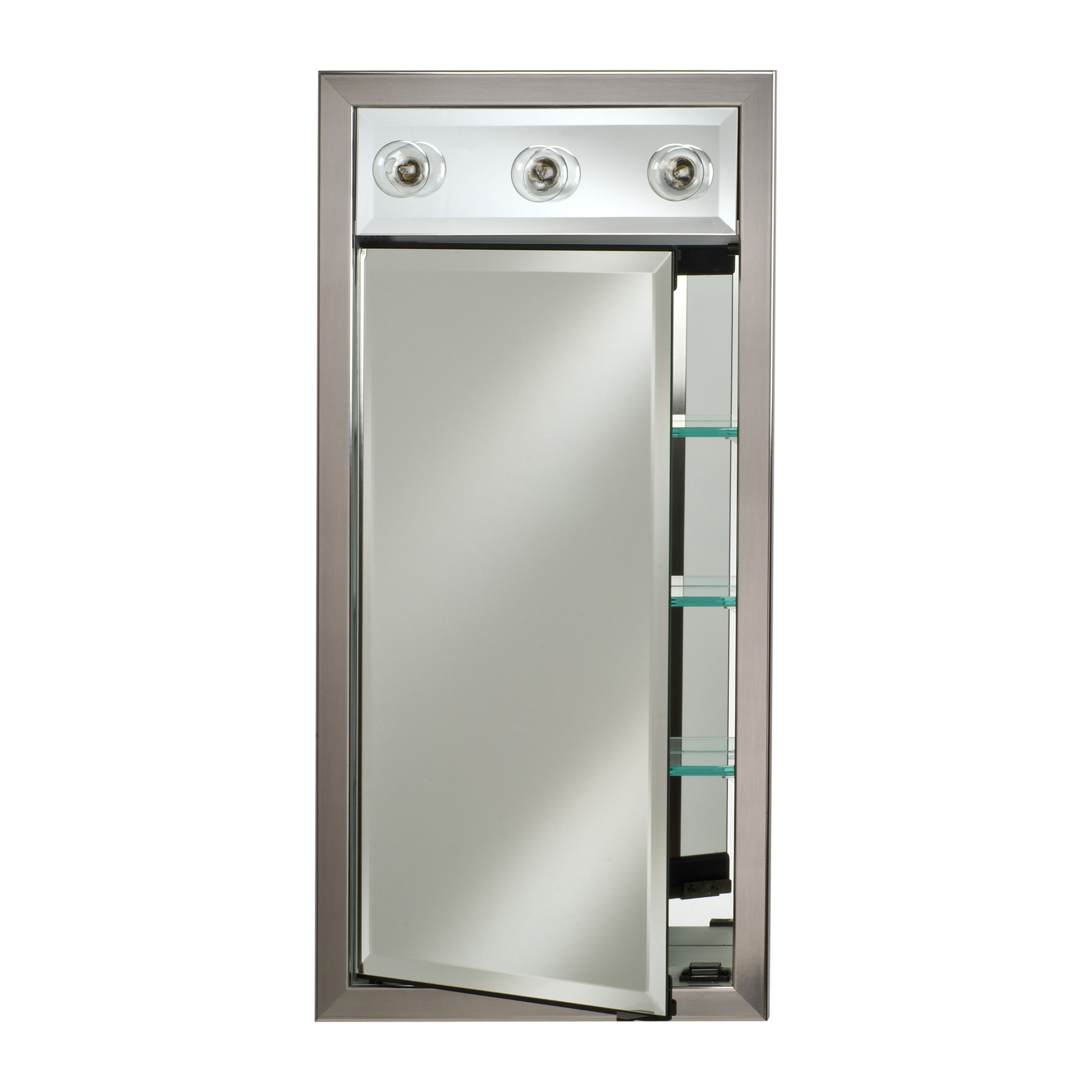 Afina Signature Collection Contemporary Integral Lighted Single Door 17W x 40H in. Recessed Medicine Cabinet