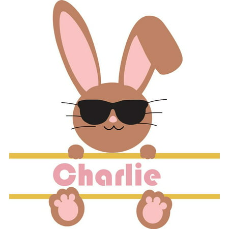 Personalized Sunglasses Bulk (Personalized Name Vinyl Decal Sticker Custom Initial Wall Art Personalization Decor Bunny With Sunglasses Children Bedroom 10 Inches X 10)