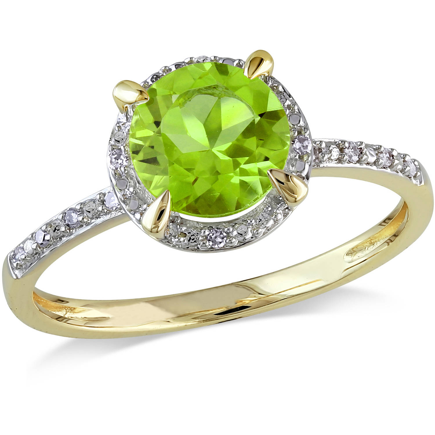 Tangelo 1-1/2 Carat T.G.W. Peridot and Diamond-Accent 10kt Yellow Gold Halo Ring