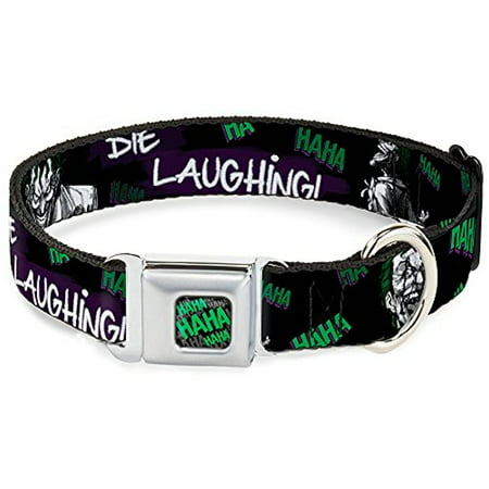 Dog Collar JKK-HAHA Stacked Full Color Black Gray Green - Joker DIE Pet Collar - Joker Dog