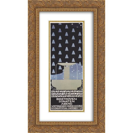 - Koloman Moser 2x Matted 14x24 Gold Ornate Framed Art Print 'Poster of the Beethoven sonatas evening'