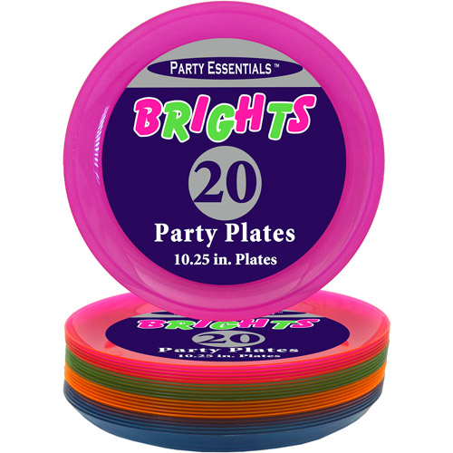 Plastic Neon Dinner Party Plates, Assorted Colors