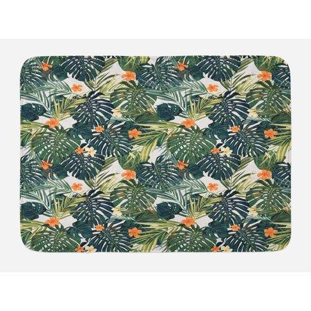 Floral Bath Mat, Botanic Tropic Leaves and Flowers Hawaiian Theme Summer Plants Illustration, Non-Slip Plush Mat Bathroom Kitchen Laundry Room Decor, 29.5 X 17.5 Inches, Green and White, Ambesonne (Hawaiian Theme Decor)
