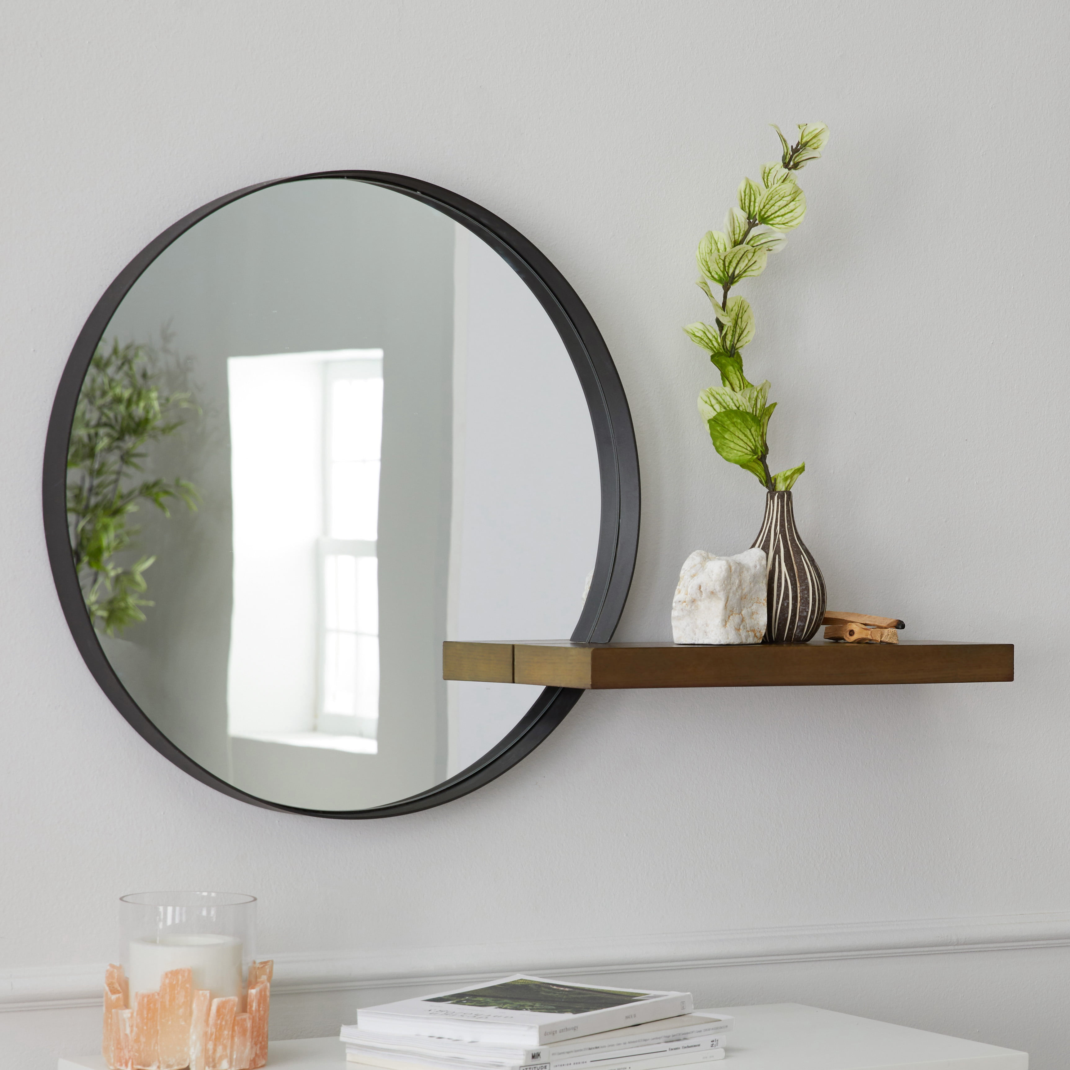 Modrn Naturals Metal Framed Round Decorative Wall Mirror With Wood Shelf Walmart Com Walmart Com