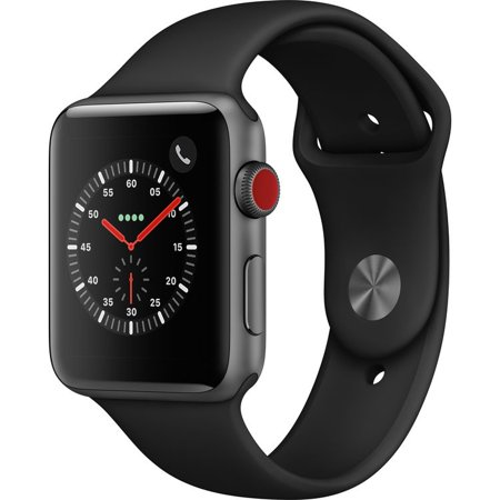 Refurbished Watch Series 3 42mm Apple Space Gray Aluminium Case Black Sport Band GPS + Cellular MQK22LL/A Non-OEM M/L Band