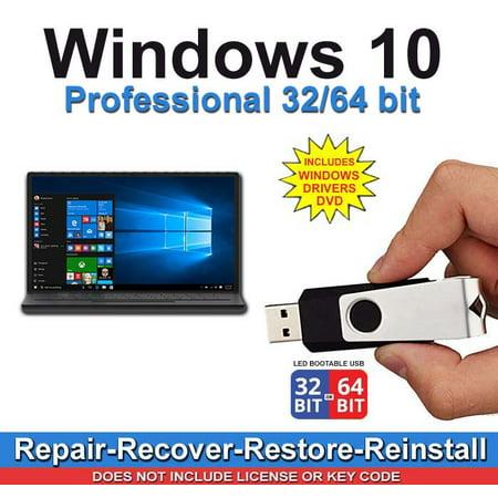 Windows 10 Professional 32/64 bit Install, Repair, Restore, Recovery USB & 2019 Windows Drivers ()