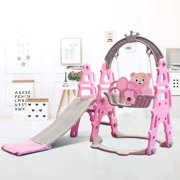 Baby Slide and Swing Set, 3 in 1 Kids Play Climber Slide Playset Indoor Outdoor Playground Toy with Basketball Hoop Easy Setup Backyard Kids Activity Center